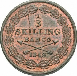 硬币 > ⅓斯基林班克, 1844-1855 - 瑞典  - reverse