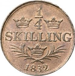 Монета > ¼скіллінга, 1832-1833 - Швеція  - reverse