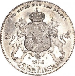 Monedă > 2riksdaleririksmynt, 1862-1871 - Suedia  - reverse