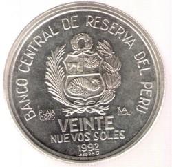 Moneta > 20soles, 1992 - Perù  (Protocollo di Rio de Janeiro) - obverse
