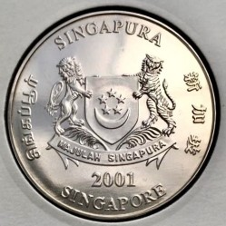 Moneda > 5 dólares, 2001 - Singapur  (20th Anniversary - Productivity Movement) - obverse