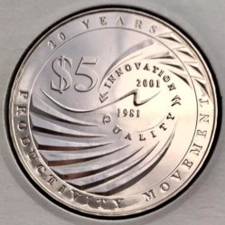 Moneda > 5 dólares, 2001 - Singapur  (20th Anniversary - Productivity Movement) - reverse