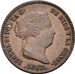 Coin > 5céntimos, 1854-1864 - Spain  - obverse