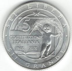 Монета > 5евро, 2018 - Италия  (70th Anniversary - Constitution of the Italian Republic) - obverse