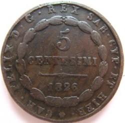 Moneta > 5centesimi, 1826 - Sardegna  - obverse