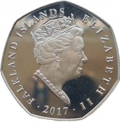 Coin > 50 pence, 2017 - Falkland Islands  (Northern Rockhopper Penguin (Eudyptes moseleyi) /with a tuft down/) - obverse