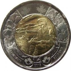 """Moneda > 2dólares, 2015 - Canadá  (100 aniversario - Poema """"En los campos de Flandes"""") - reverse"""