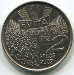 Moneda > 2pesos, 2002 - Argentina  (50 Aniversario - Muerte de María Eva Duarte de Perón) - obverse