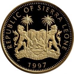 Moneta > 10dollari, 1997 - Sierra Leone  (Anniversario di nozze d'oro - Fuochi d'artificio sopra il palazzo) - obverse