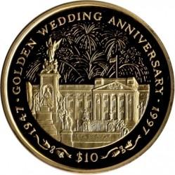 Moneta > 10dollari, 1997 - Sierra Leone  (Anniversario di nozze d'oro - Fuochi d'artificio sopra il palazzo) - reverse