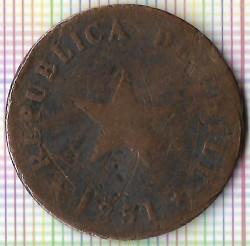 Moneta > 1centavo, 1851 - Cile  (Stella sollevata) - reverse