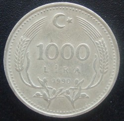 Moneta > 1.000lire, 1990 - Turchia  (Protezione ambientale) - reverse