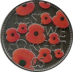 Coin > 5 pounds, 2016 - Jersey  (Remembrance Day 2014) - reverse