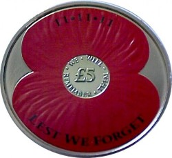 Coin > 5pounds, 2013 - Jersey  (Remembrance Day 2014) - reverse