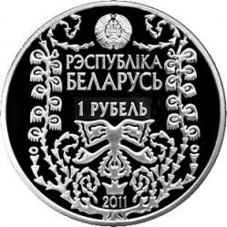Moneda > 1rublo, 2011 - Bielorrusia  (120 aniversario - Nacimiento de M. Bahdanovich) - obverse