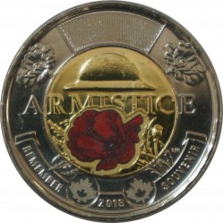 Coin > 2dollars, 2018 - Canada  (100th Anniversary - End of the First World War, Colored) - reverse