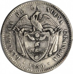 Coin > 10 reals, 1850-1851 - Colombia  - obverse