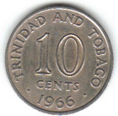 Trinidad /& Tobago 1966 10 Cents Brilliant Uncirculated                   mab25