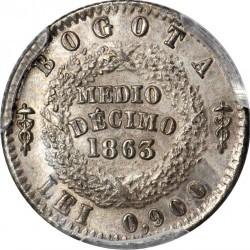 Monēta > ½decimo, 1863-1865 - Kolumbija  - reverse