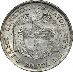 Coin > 50centavos, 1874-1885 - Colombia  - reverse