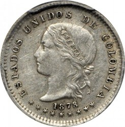 Coin > 10 centavos, 1874-1885 - Colombia  - obverse