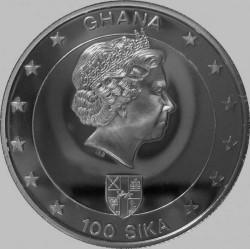 Moneta > 100cedi, 2002 - Ghana  (Śmierć Królowej Matki) - obverse