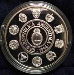 Moneda > 25pesos, 1994 - Argentina  (Series Iberoamericanas - Armadillo Gigante) - obverse