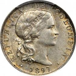 Moneda > 20centavos, 1897 - Colòmbia  - obverse