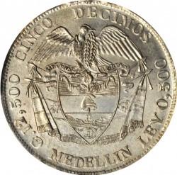 Moneda > 5décimos, 1887-1888 - Colòmbia  - reverse