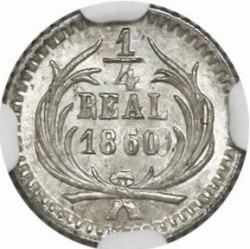 Moneda > ¼real, 1859-1869 - Guatemala  - reverse