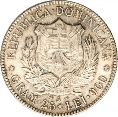 5 Francs 1891 Dominican Republic
