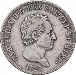 Moneta > 5lirów, 1825 - Sardynia  - obverse