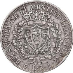 Moneta > 5lirów, 1825 - Sardynia  - reverse