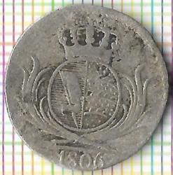 Кованица > 6крајцера, 1806 - Virtemberg  (Small monogram) - reverse