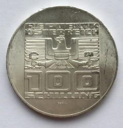 Кованица > 100шилинга, 1975 - Аустриа  (50th Anniversary - Schilling) - obverse