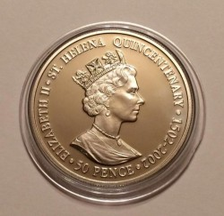 Moneta > 50pence, 2002 - Sant'Elena  (Visita reale del 1947) - reverse