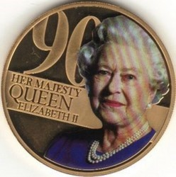 Coin > 50 pence, 2016 - Guernsey  (90th Anniversary - Birth of Queen Elizabeth II /photo 80 years/) - reverse