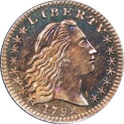 Монета > 1дайм, 1794-1795 - САЩ  (Flowing Hair Half Dime) - obverse