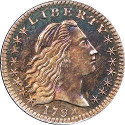 Монета > 5центов, 1794-1795 - США  (Flowing Hair Half Dime) - obverse