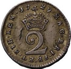 Monēta > 2pensi, 1729-1760 - Lielbritānija  - reverse