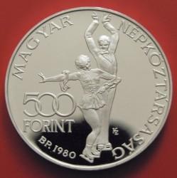 Moneta > 500forintų, 1980 - Vengrija  (XIII Olympic Winter Games, Lake Placid 1980) - obverse
