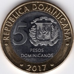 Moneda > 5pesos, 2017 - República Dominicana  - reverse
