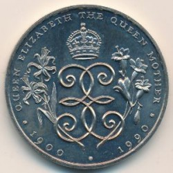 Монета > 2 фунта, 1990 - Гернсі  (90th Anniversary - Birth of Queen Mother) - obverse
