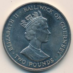 Монета > 2 фунта, 1990 - Гернсі  (90th Anniversary - Birth of Queen Mother) - reverse