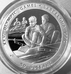 Монета > 50долларов, 1989 - Ниуэ  (XXV Летние Олимпийские игры, Барселона 1992 - Гребля) - reverse