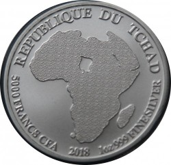Coin > 5000francs, 2018 - Chad  (African Lion) - reverse