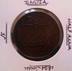 Монета > ½анна, 1834 - Индия - Британская  (Маленькие буквы) - obverse
