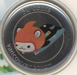 Moneta > 50centesimi, 2010 - Canada  (XXI Giochi olimpici invernali, Vancouver 2010 - Mascotte Miga, skeleton) - reverse