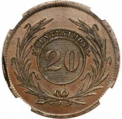 Moneda > 20céntimos, 1843-1844 - Uruguai  - reverse