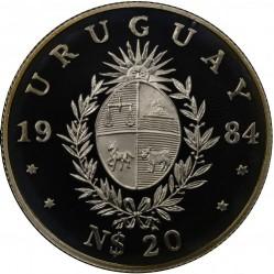 Moneta > 20nuovipesos, 1984 - Uruguay  (Conferenza mondiale della pesca) - obverse
